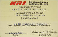 National Radio Institute (NRI) certificate - Kirt Blattenberger
