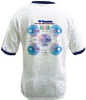 RF Cafe Ringer T-shirt - back (blue or black trim),  We Are the World's Matchmakers Smith Chart design