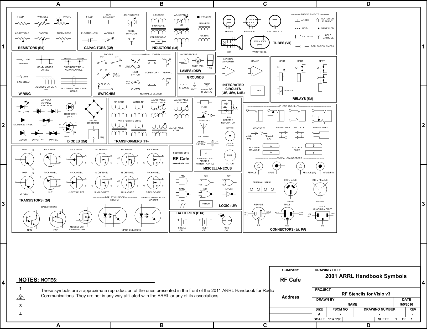 visio circuit schematic symbols from the 2011 arrl handbook rf cafe - Visio Shapes Electrical