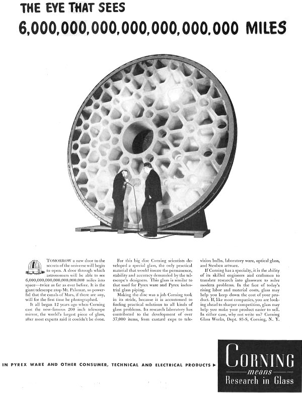 Mt Palomar Telescope Pyrex Mirror Blank Ad In The May 29