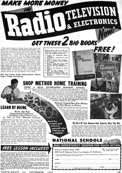 National Schools Radio Television & Electronics Training Ad, September 1945, Radio Craft - RF Cafe