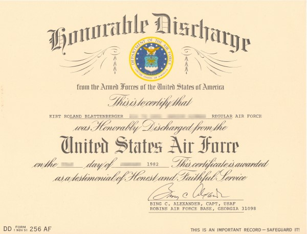 Usaf Honorable Discharge Certificate Kirt Blattenberger Rf Cafe