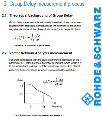 Rohde & Schwarz App Note: Group Delay Measurements with Signal and