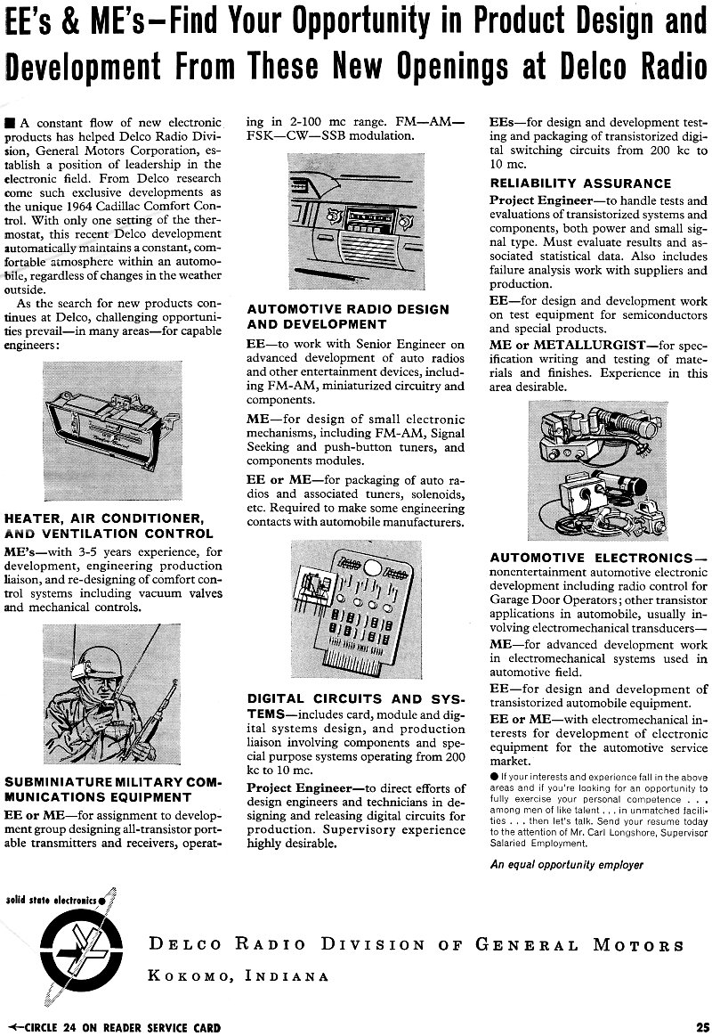 delco radio division of general motors employment advertisement  march 6  1964 electronics