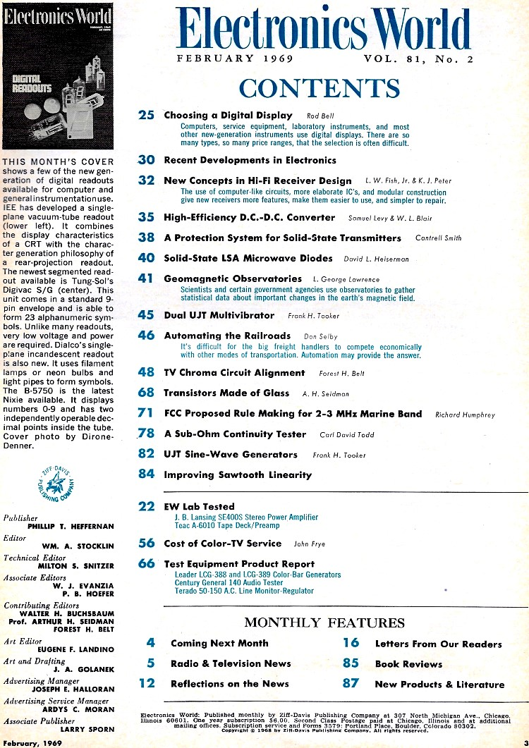 February 1969 Electronics World Table Of Contents Rf Cafe Sawtooth Wave Generator Circuit Using Ujt