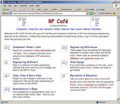 Wayback Machine™ Screen Captures of RF Cafe - RF Cafe