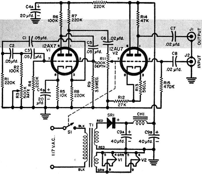 build your own vibrato december 1957 popular electronics rf cafe rh rfcafe com Guitar Effects Circuit Diagrams Radio Circuit Diagram