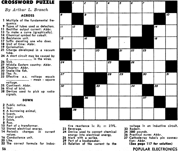 Crossword Puzzle From The December 1957 Popular Electronics