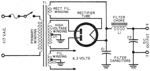 schematic wiring diagram of a typical power supply - rf cafe