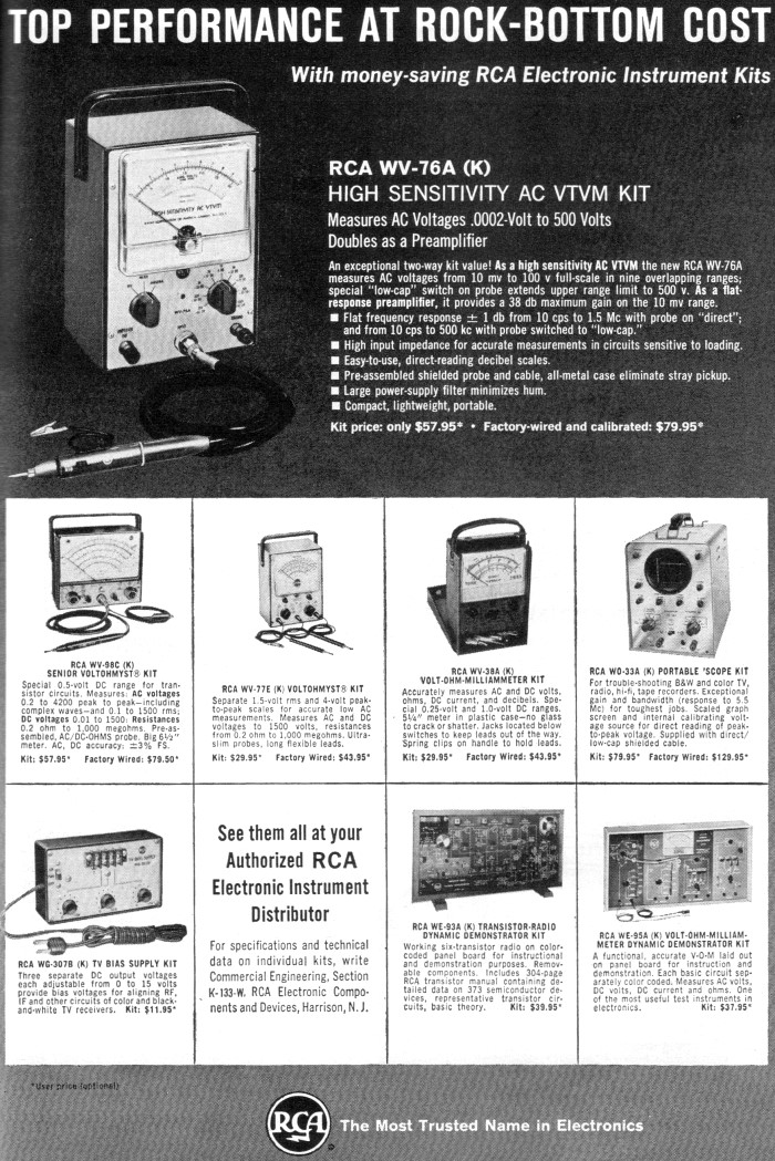 RCA Test Equipment Advertisement, November 1963 Popular Electronics