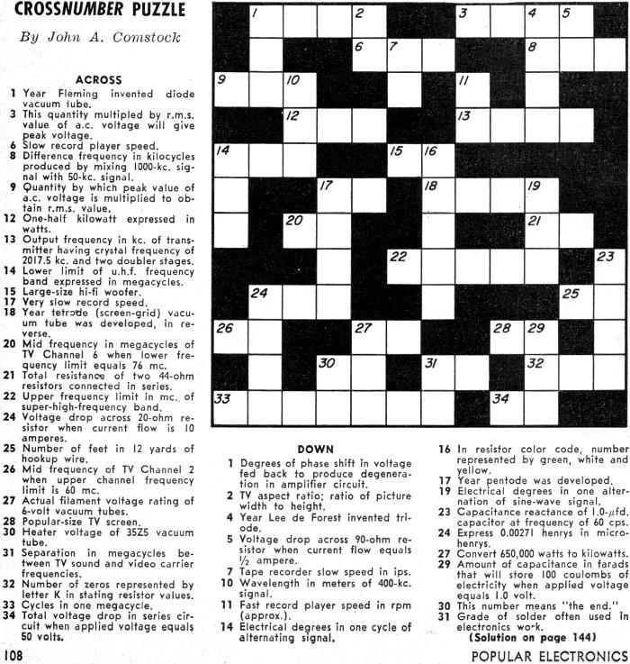 Cross-Number Puzzle, April 1959 Popular Electronics - RF Cafe