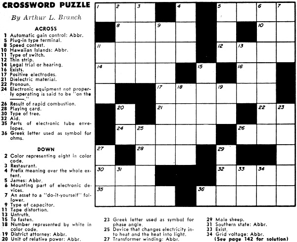 crossword puzzle  october 1957 popular electronics