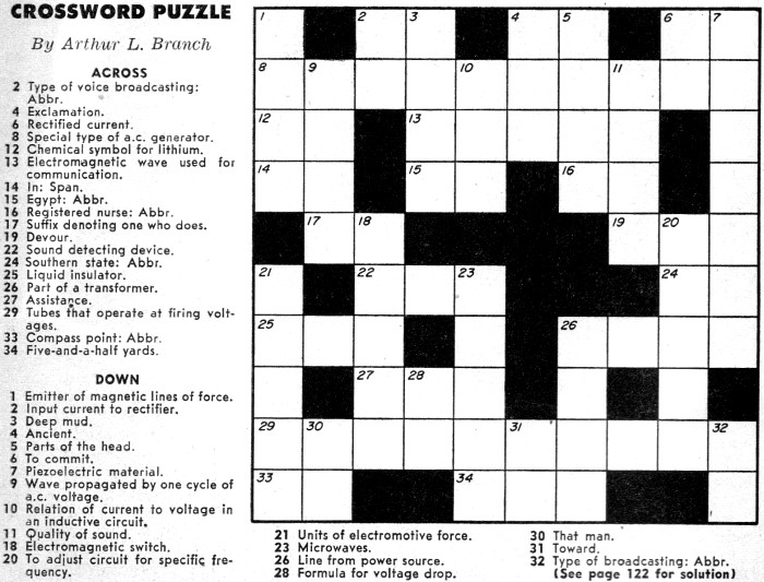 Crossword Puzzle From September 1957 Popular Electronics