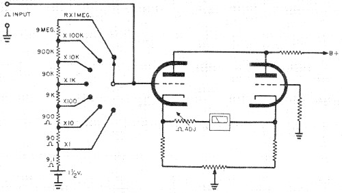 Test Instruments Part 5: The Vacuum-Tube Voltmeter - A.C. ... on cable tester schematic, tube power supply schematic, vacuum tube schematic symbol, battery tester schematic, vacuum tube alarm clock, led tester schematic, vacuum amplifier schematic, vacuum tube voltmeter schematic, vacuum tube diagram, capacitor tester schematic, vacuum tube amplifier, vacuum tube pin layout, diode schematic, vacuum generator schematic, vacuum tube preamp schematic, vacuum tube radio schematics, vacuum tube computer schematic, vacuum tube power supply design, vacuum tube tv, vacuum tube testers retail store,
