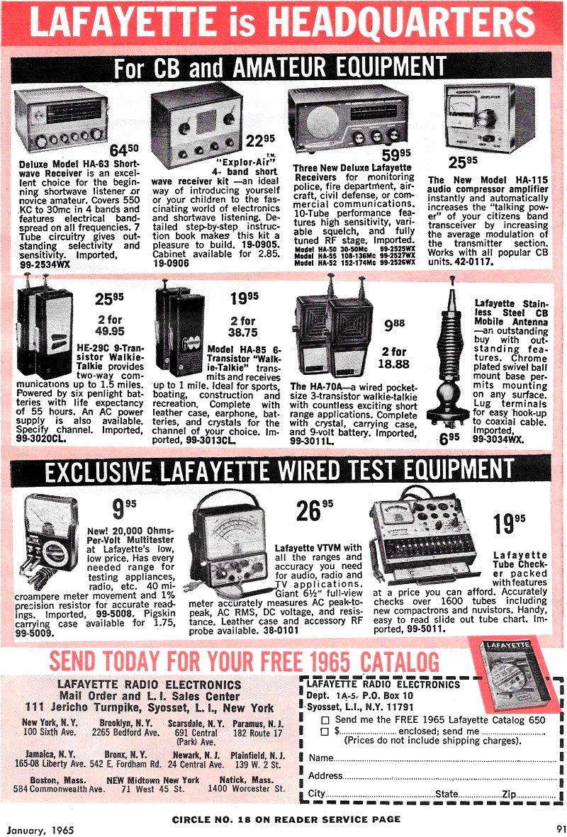 Lafayette Radio Electronics Advertisement, January 1965
