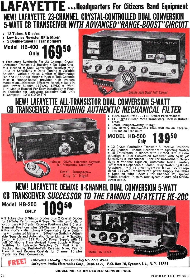 Lafayette Radio Electronics Advertisement, January 1965 Popular