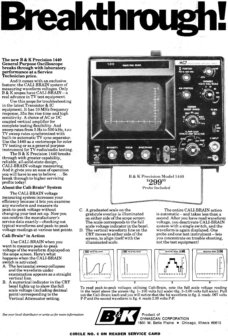 B & K Precision 1440 General Purpose Oscilloscope, January 1972