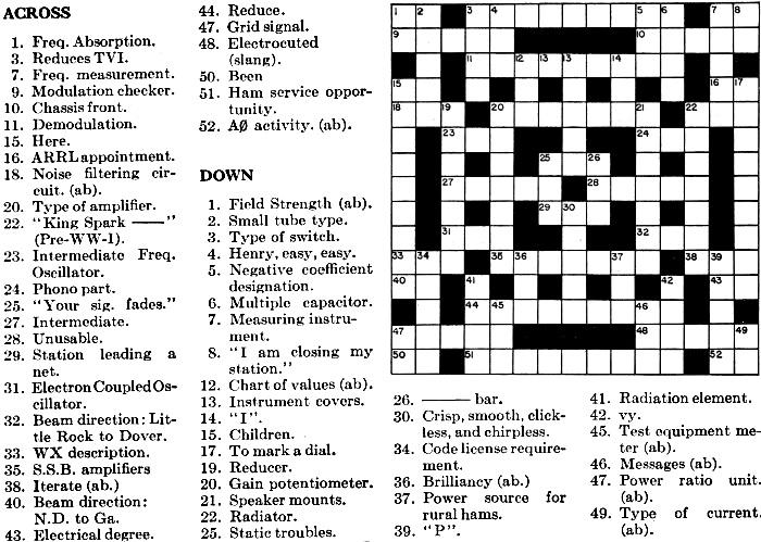 electronics crossword puzzle  april 1967 qst