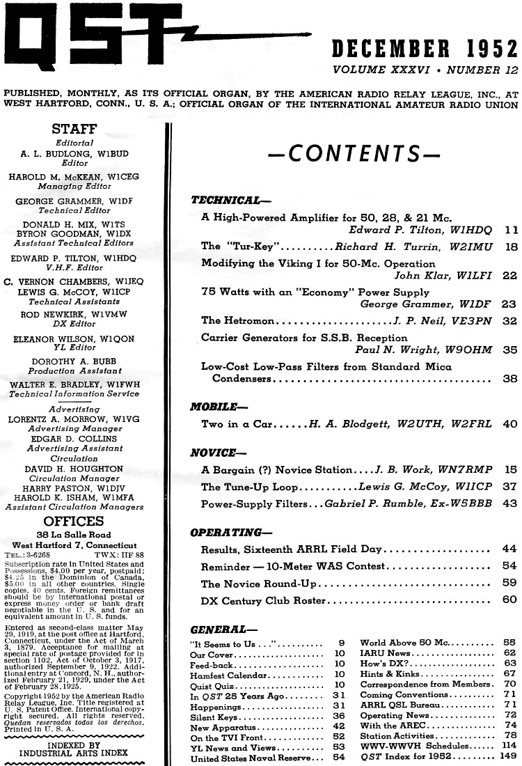 December 1952 QST Table of Contents - RF Cafe