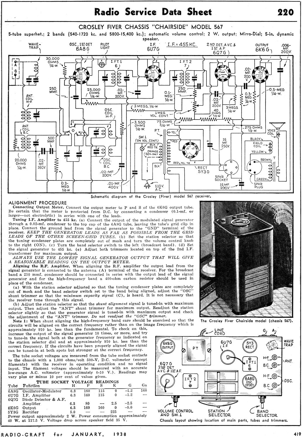 Crosley Fiver Chassis Chairside Model 567 Radio Service Data Sheet. Crosley Fiver Chassis Chairside Model 567 Radio Service Data Sheet. Wiring. Zenith Tube Radio Schematics 1938 At Scoala.co