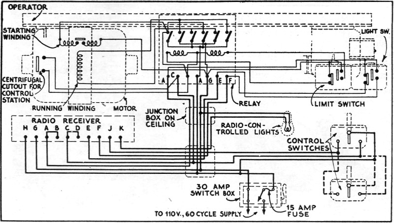 the new radio garage door opener, september 1933, radio craft rf cafecomplete schematic circuit of the motor and light control circuits rf cafe