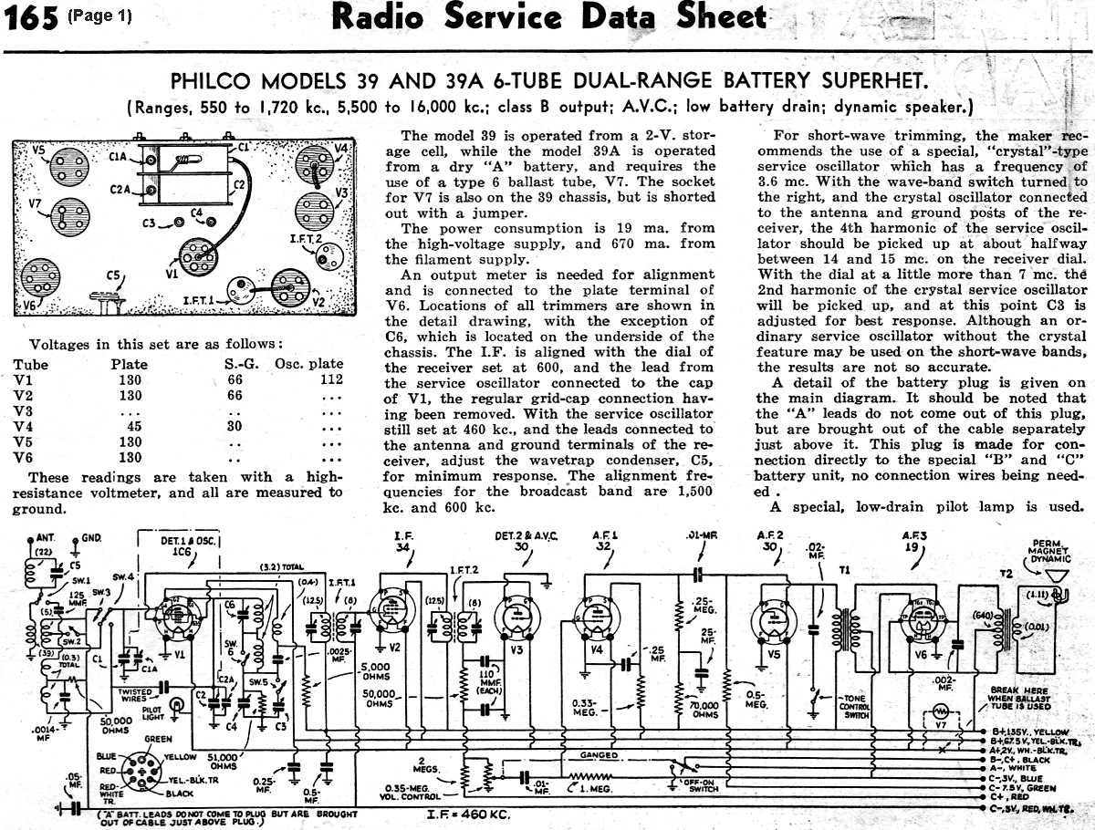 Philco Models 39 And 39a 6tube Dualrange Battery Superhet May. Philco Models 39 And 39a 6tube Dualrange Battery Superhet May 1936 Radiocraft Rf Cafe. Wiring. Zenith Tube Radio Schematics 39a At Scoala.co