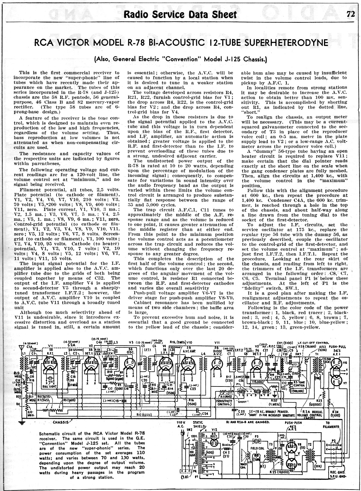 RCA Victor Model R-78 B1-Acoustic 12-Tube Superheterodyne