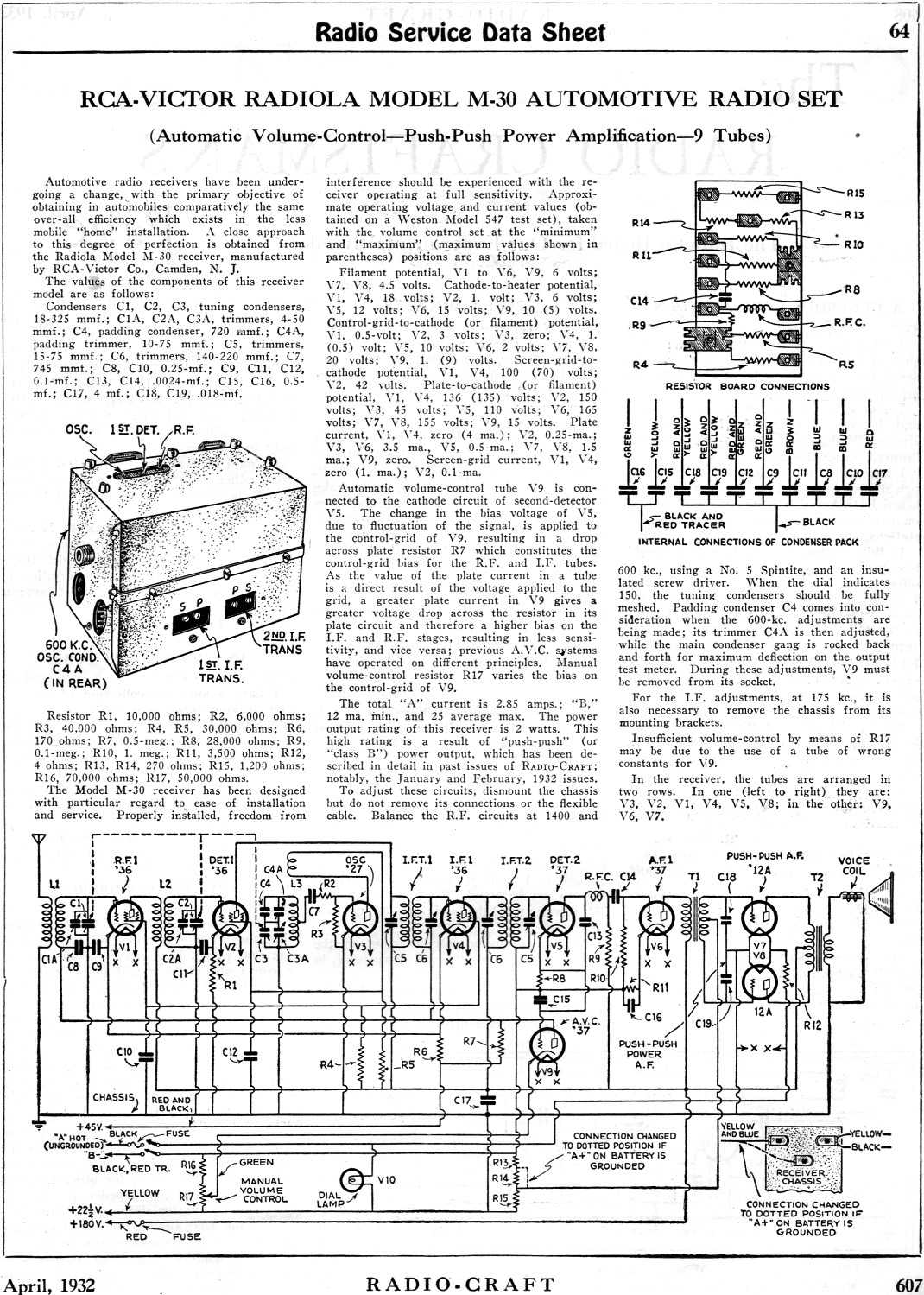 RCA-Victor Radiola Model M-30 Automotive Radio Set Radio Service Data  Sheet, ...