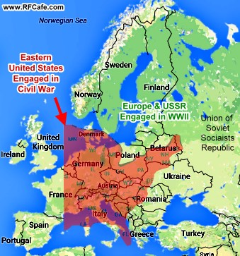 Europes Undeclared Radio War July RadioCraft RF Cafe - Map of east us and europe