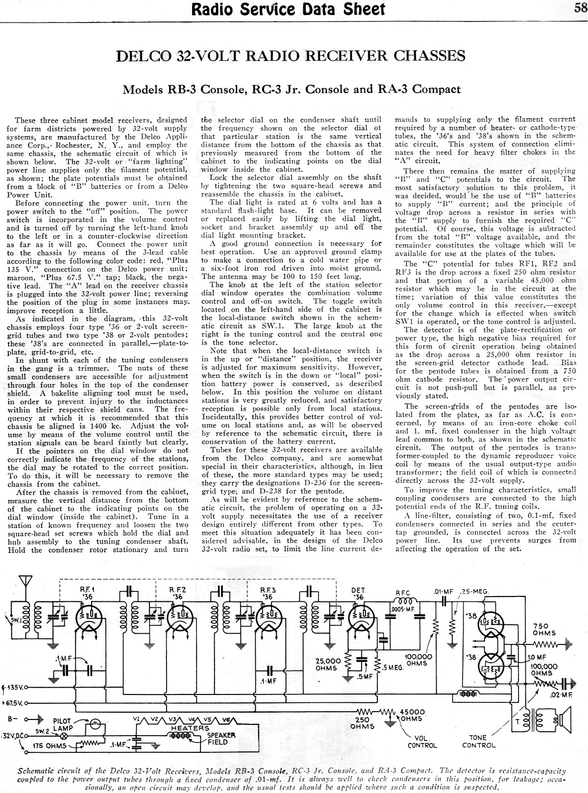Vintage Delco Radio Schematics Wiring Diagram Will Be A Thing Acdelco 32 Volt Receiver Chasses Service Data Gm Harness Delphi