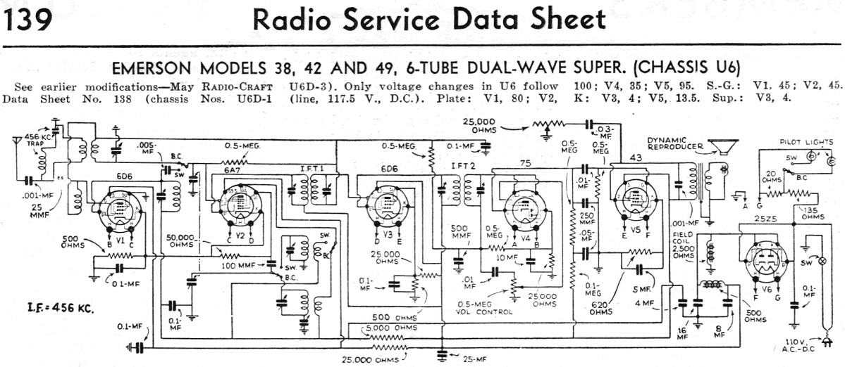 Emerson Models 38 42 And 49 6 Tube Dual Wave Super