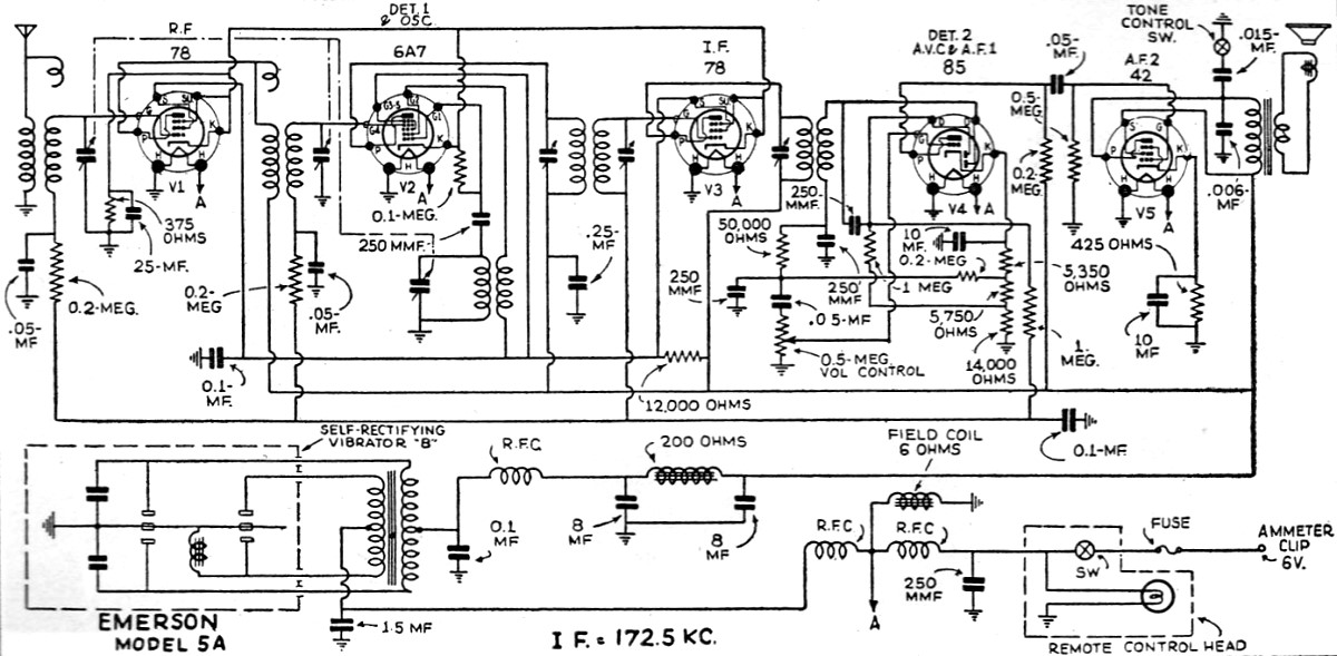 emerson 5a radio schematic  june 1935 radio-craft