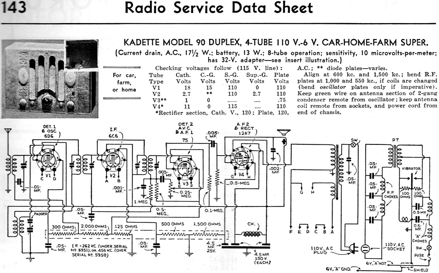 kadette model 90 duplex 4 110 v 6 v car home farm radio service data sheet