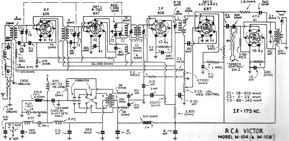 rca victor m-104  and m-108  radio schematic  june 1935 radio-craft
