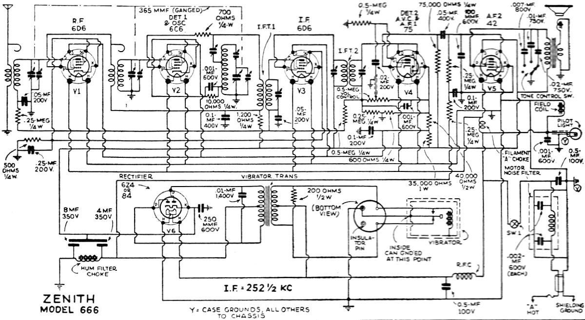 zenith 666 automotive radio schematic  june 1935 radio-craft