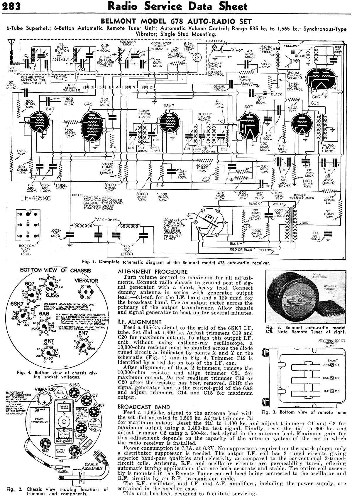 Belmont Model 678 Auto-Radio Set Radio Service Data Sheet