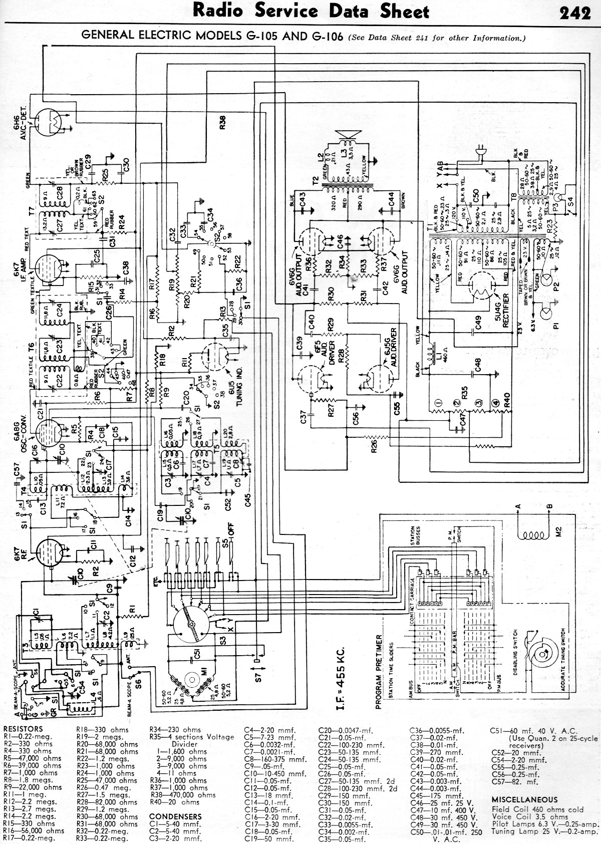 General Electric Models G105 And G106 Radio Service Data Sheet. Rf Cafe. Wiring. Zenith Tube Radio Schematics 1938 At Scoala.co