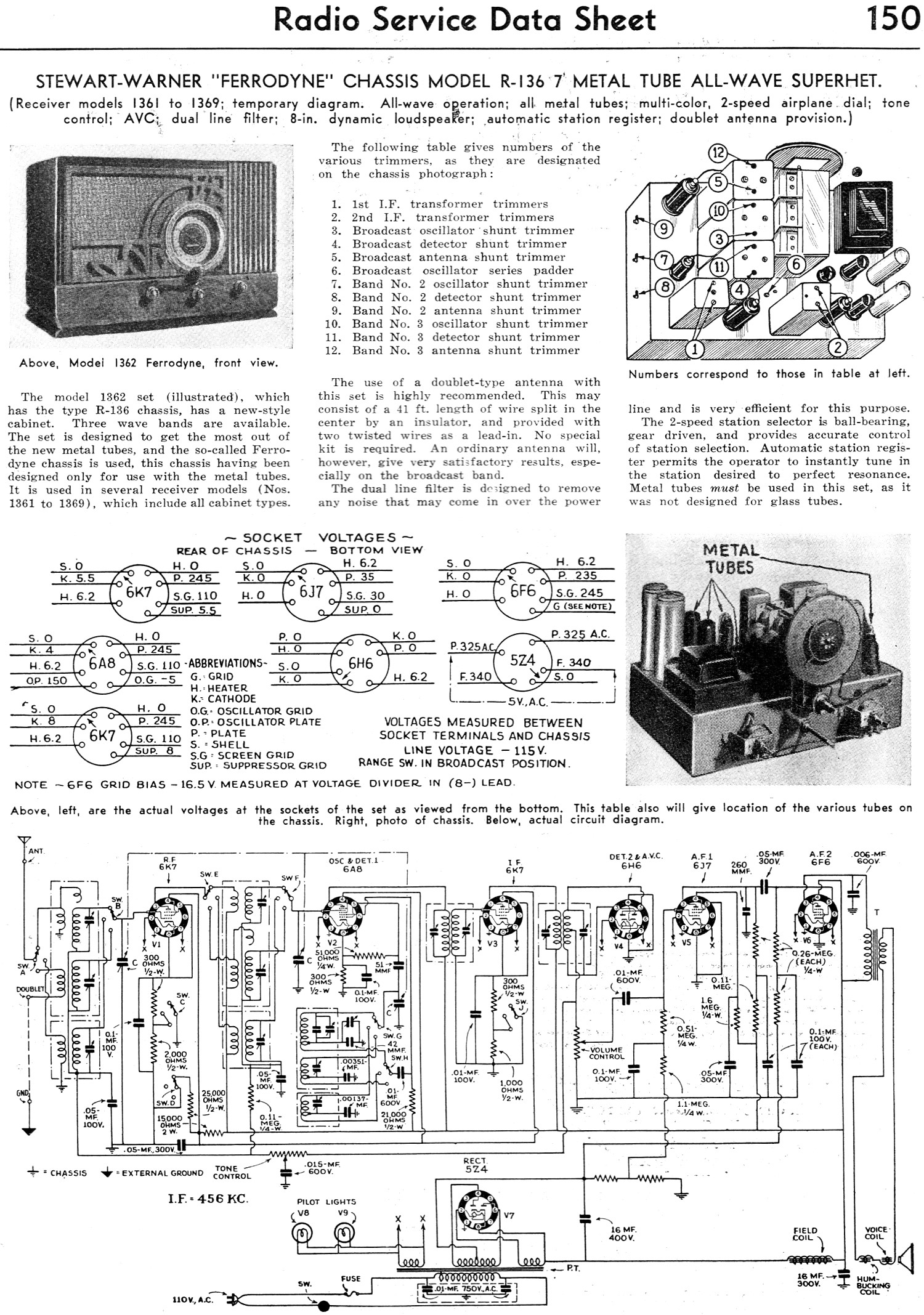 stewart warner ferrodyne r 136 service data sheet radio craft november 1935 stewart warner voltmeter wiring diagram stewart warner gauges,Stewart Warner Wiring Diagrams