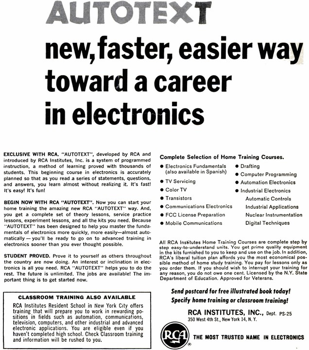RCA Institutes, September 1968 Radio-Electronics - RF Cafe