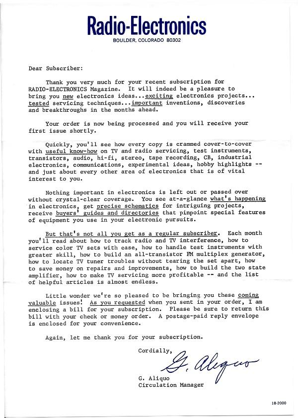 Radio-Electronics Subscription Letter, July 1969 Radio-Electronics