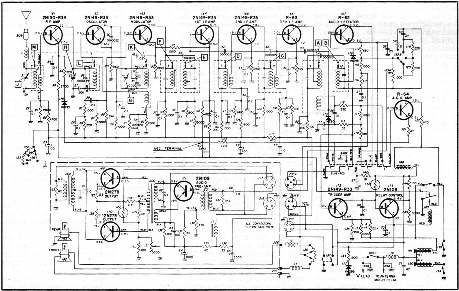 delco s all transistor auto radio august 1957 radio tv news rf cafe rh rfcafe com Transistor Amplifier Circuit Diagram Transistor Amplifier Circuit Diagram