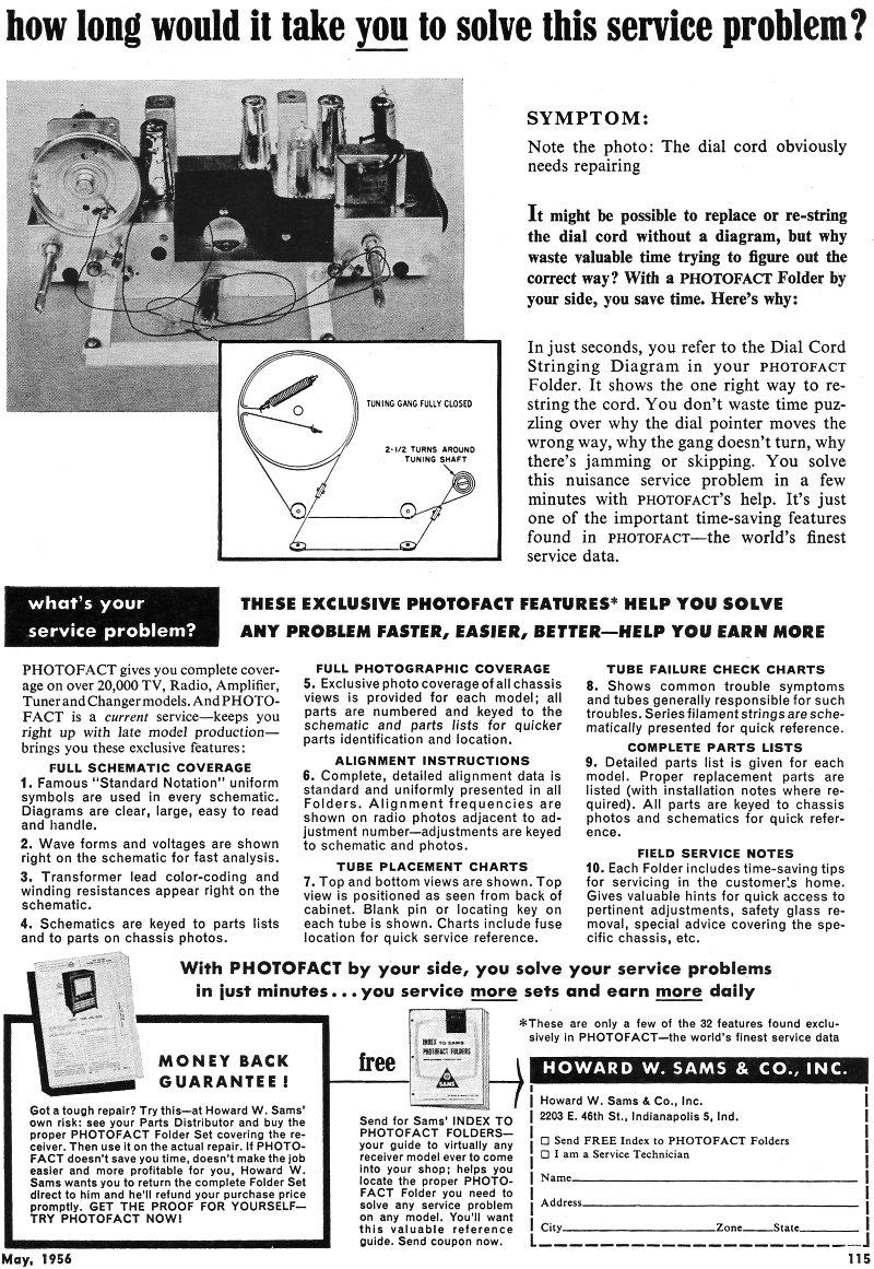 Howard W  Sams and Co , Inc  Photofact, May 1956 Radio & Television
