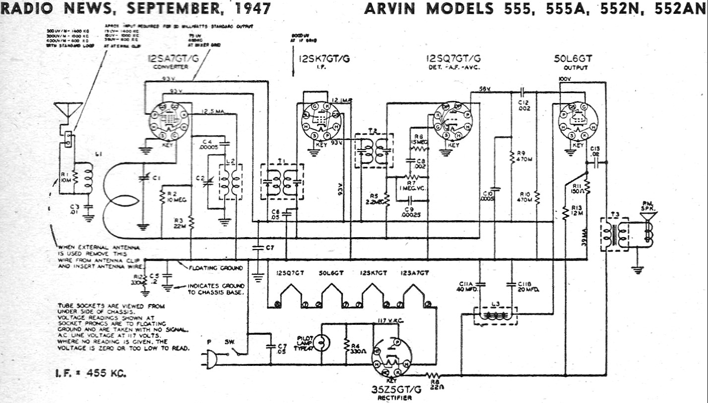 Arvin Models 555, 555A, 552N, 552AN, September 1947 Radio