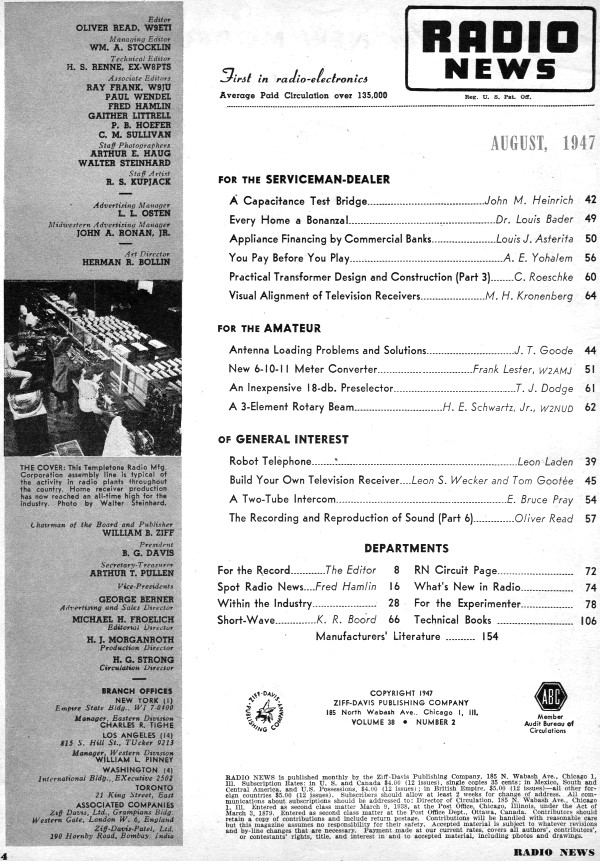 august 1947 radio news table of contents