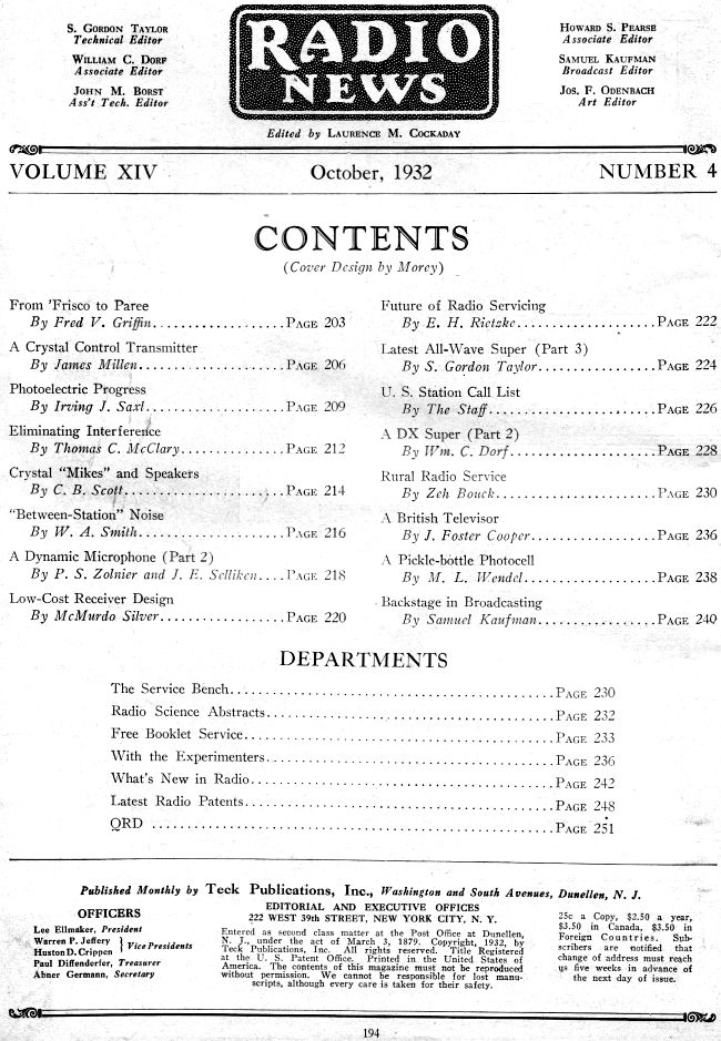 October 1932 Radio News Table of Contents - RF Cafe