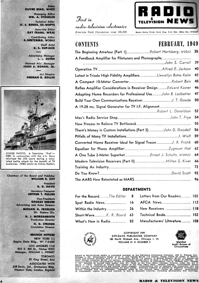 february 1949 radio  u0026 television news table of contents