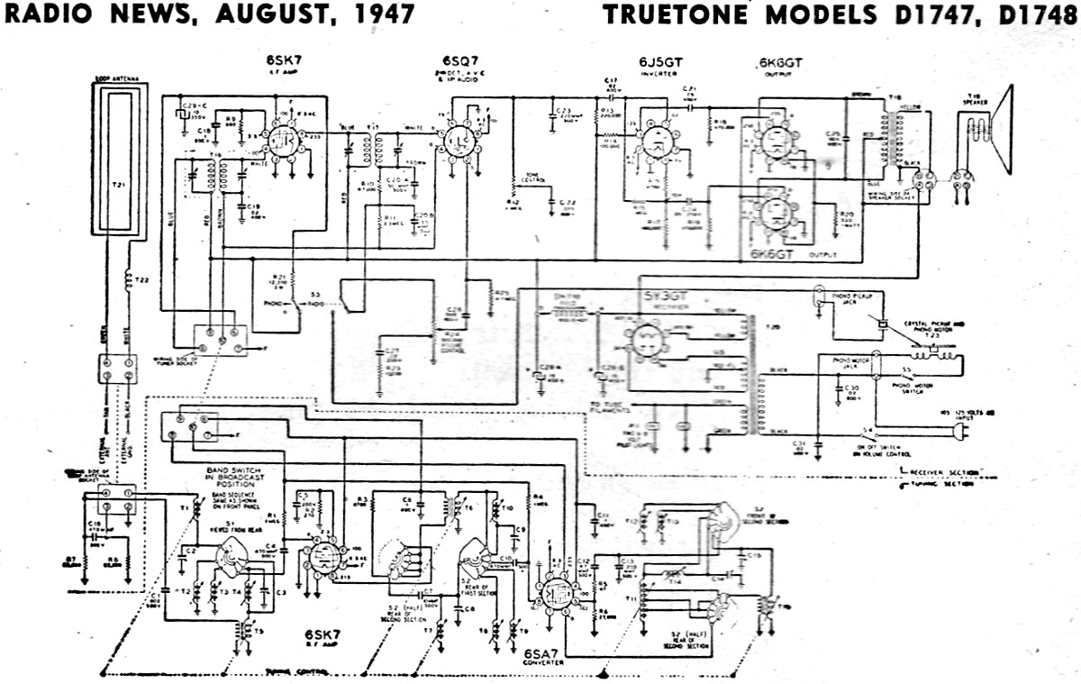 truetone models d1747  d1748 schematic  u0026 parts list