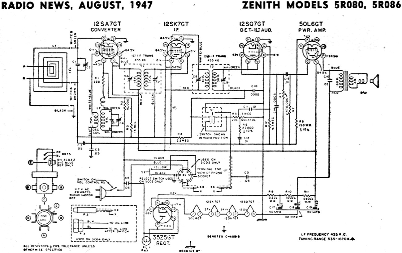 Zenith Schematics Wiring Library Antique Radio Diagram Models 5r080 5r086 Schematic August 1947 News Rf Cafe
