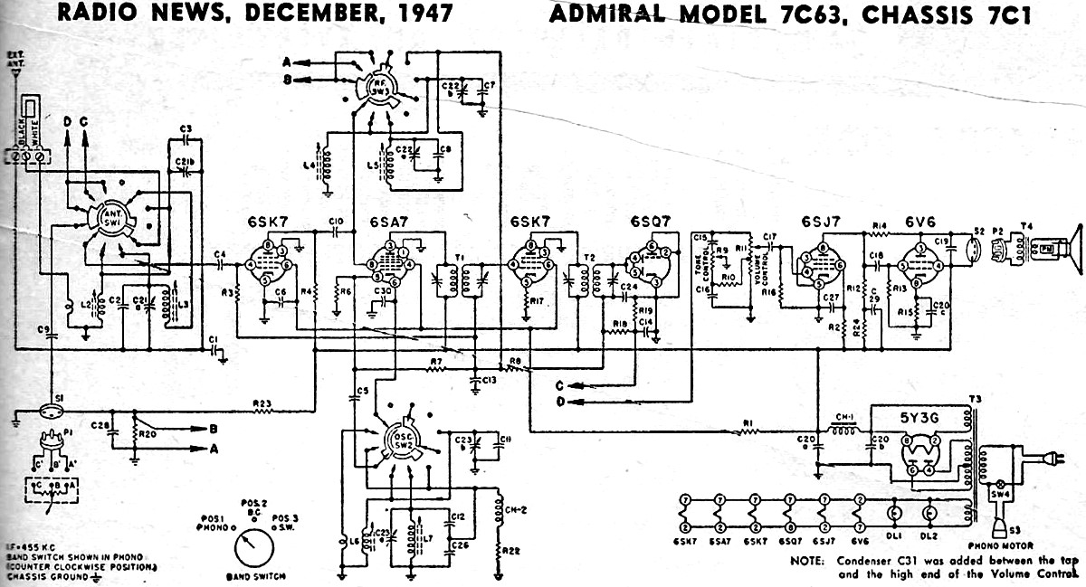 Admiral Model 7C63, Chassis 7C1 Schematic & Parts List, December ...