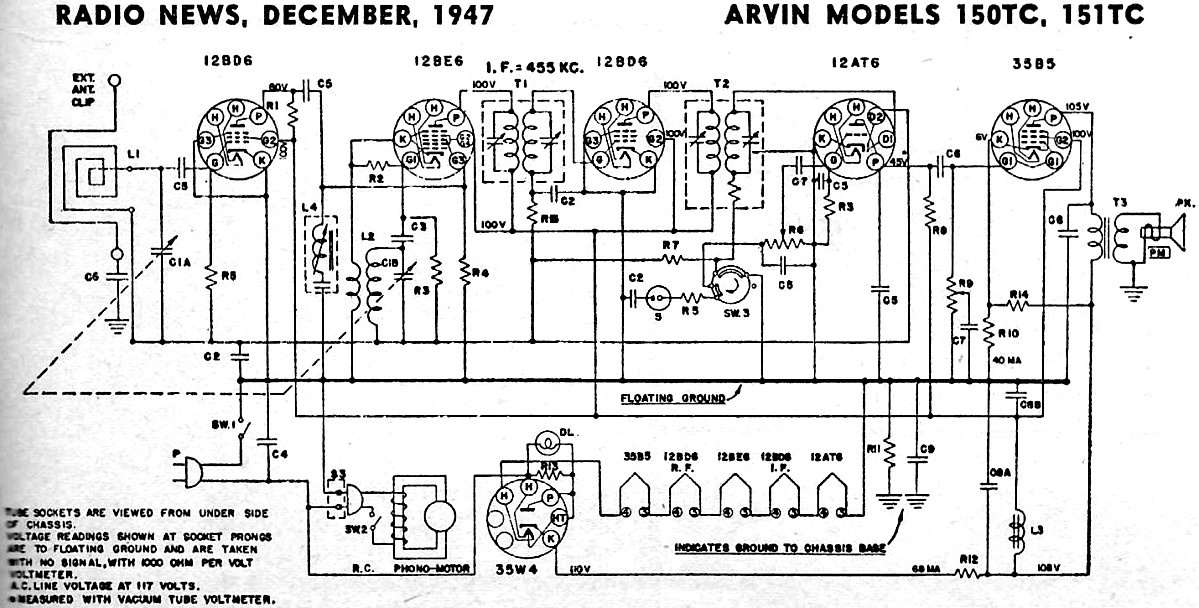 Arvin Models 150tc 151tc Schematic Parts List December 1947. Arvin Models 150tc 151tc Schematic Rf Cafe. Wiring. Zenith Tube Radio Schematics 39a At Scoala.co